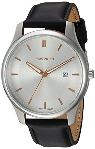 Wenger-Mens-City-Classic-Swiss-Quartz-Steel-Two-Tone-and-Leather-Casual-Watch-ColorBlack-Model-011441103