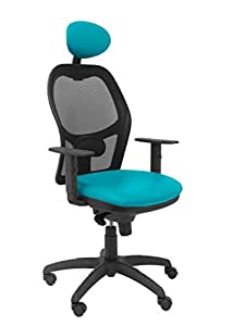 Silla Operativa de oficina Jorquera malla negra asiento similpiel verde con cabecero fijo