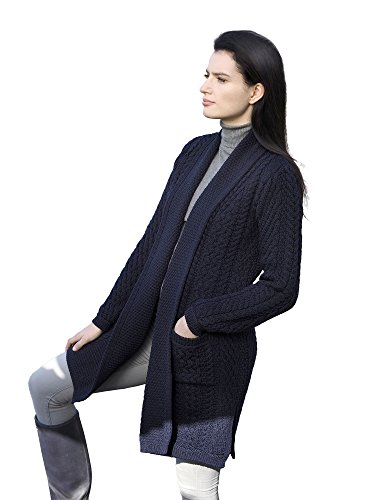Merino Knit Long Cardigan - Ladies Merino Wool Edge to Edge Long Knit Shawl (Navy, Medium)