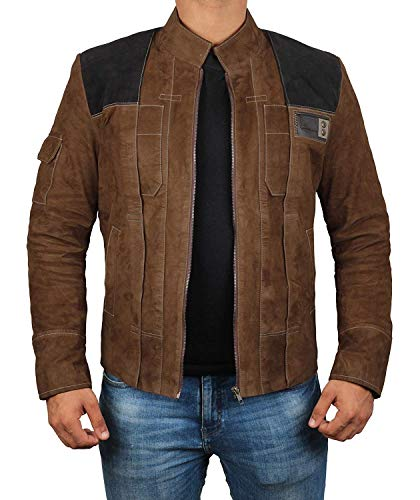 Genuine Suede Leather Mens Jacket - Brown Solo A Star Wars Story Jacket Costume (Solo Light Brown, M)