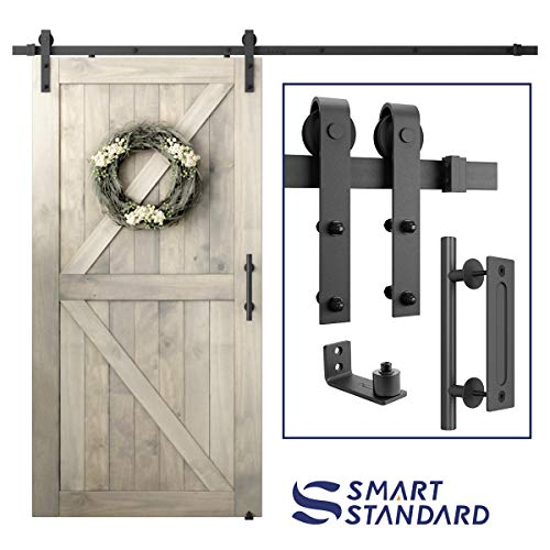 8 FT Heavy Duty Sturdy Sliding Barn Door Hardware Kit, 8ft Single Rail, Black, (Whole Set Includes 1x Pull Handle Set & 1x Floor Guide) Fit 42-48 Wide Door Panel (J Shape Hanger)