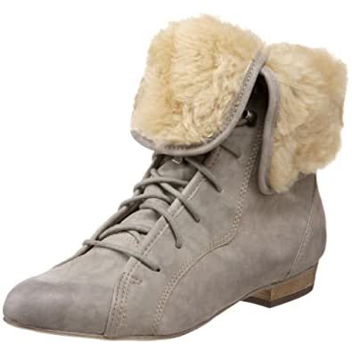 Steve Madden Women's Blizzardd Faux Fur Lace-up Boot,Grey,6 M US