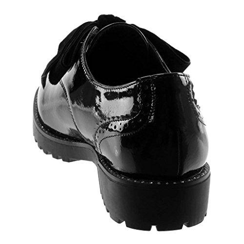 Femme Angkorly clouté Derbies Coutures CM Noir Talon Finition 3 Bloc Verni Mode Chaussure surpiqûres qgrgTxtw4