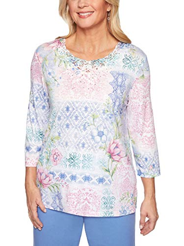- Alfred Dunner Women's Summer Wind Flower Patchwork Top - Plus Size, Multi, 2X