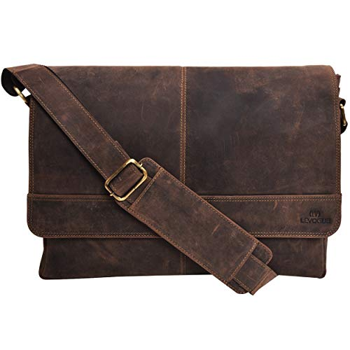 (Genuine Leather Messenger Bag for Men and Women - 14 inch Laptop Bag for College Work Office by LEVOGUE (BROWN CRAZY HORSE))