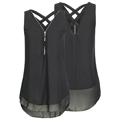 aushöhlen Shirt Vorne Sommer V Schwarz Unterhemd Ausschnitt Frauen Bluse Ärmellos Elegant Unregelmäßigkeit Tank Reißverschluss Chiffon T zurück Tops Hemdbluse Rovinci Damen Weste pfqBzFOxw