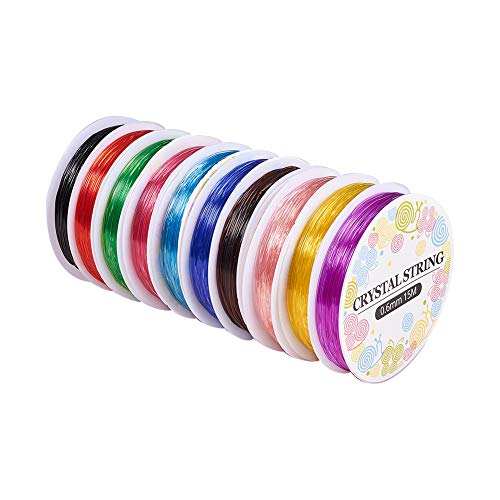 PandaHall 10 Rolls 0.6mm Crystal Elastic Stretch Polyester Threads Beading String Cord 15m per Roll 10 Colors for Jewelry Bracelets Necklace Making