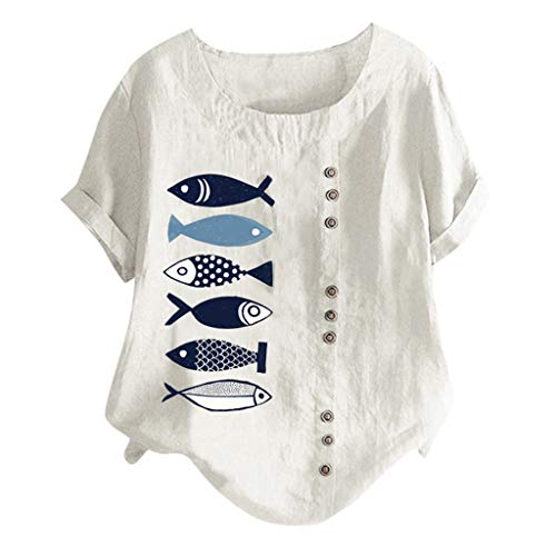 - Sunhusing Ladies Cute Cartoon Fish Print Single-Breasted Solid Color Round Neck Short-Sleeve Tops T-Shirt