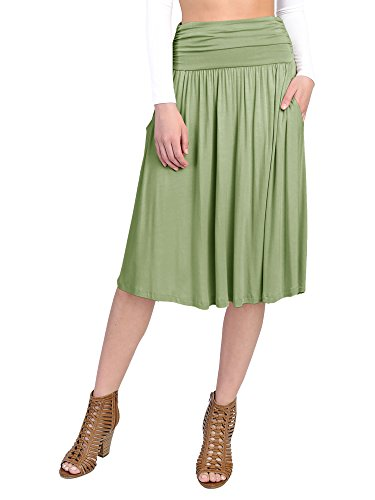 FACA Womens 1 Pack Waist Shirring Midi Flare Skater Skirt With Side Pockets (Small, Sage) (Skirt Spandex Rayon)