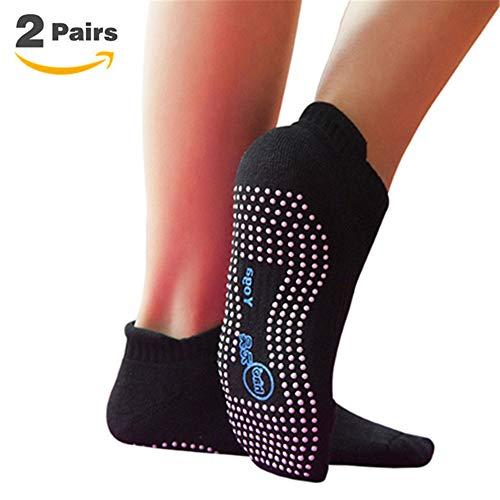 Non Slip Skid Socks with Grips,for Yoga,Barre Pilates,PiYo,Men and Women, 2 Pairs Black