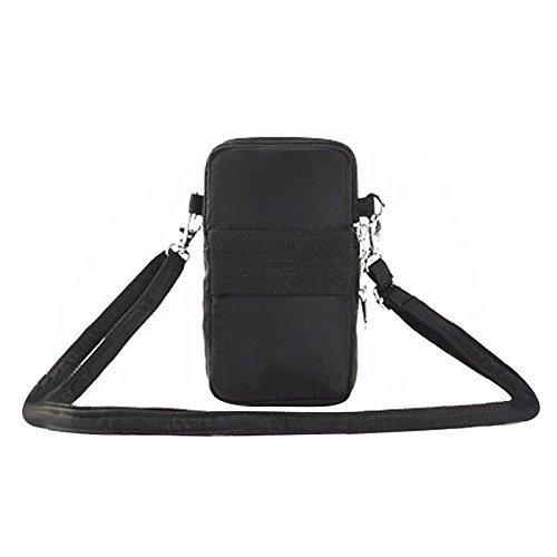 Bag 3 Shoulder Bag Waterproof Storage Zipper Wrist Pouch Sports Black Outdoor Women Phone Bag Layers Crossbody UwnAB