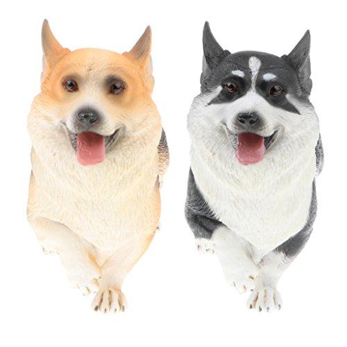 Perfk リアル コーギードッグモデル 子ども おもちゃ 置物 コレクション 犬 動物模型 モデル 全2点 コレクションの商品画像