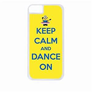 Keep Calm and Dance On-Minion in Tutu-Blue and Yellow- Hard White Plastic Snap - On Case-Apple Iphone 4 - 4s - Great Quality!