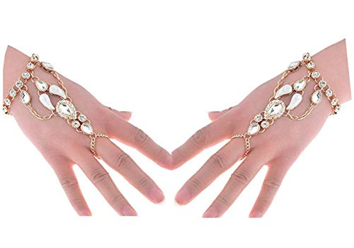 Crystal Chain Link - SUNSCSC Crystal Rhinestone Hand Harness Bangle Chain Link Finger Ring Bracelet Wedding Jewelry Women (Gold 2pcs/1set)