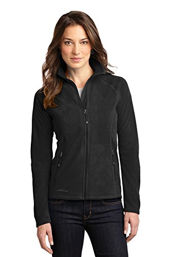 Ladies Full Zip Microfleece Jacket (Eddie Bauer - Ladies Full-Zip Microfleece Jacket, Black, XXX-Large)