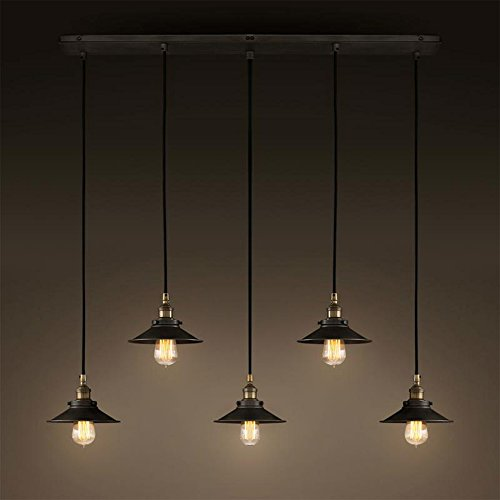 SUSUO Lighting 5 Light Wire Lamp Chandelier - Industrial Iron Works Retro Linear Island Pendant Lighting Vintage Rustic (Kitchen Island Lighting)