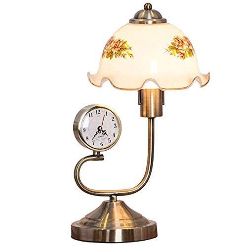 Lámpara de mesa de vidrio vintage con reloj, Lámpara de ...