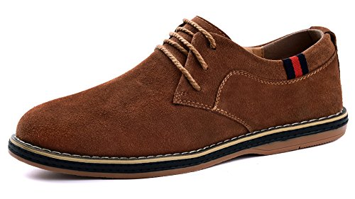 Mohem Darren Mens Premium Äkta Läder Spets-up Oxfords Skor Mocka L.brown