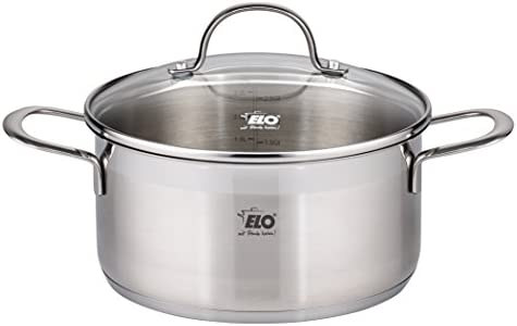 ELO Top Collection 18 10 Stainless Steel Kitchen Induction Cookware Pots and Pans Set with Shock Resistant Glass Lids and Integrated Measuring Scale, 9-Piece