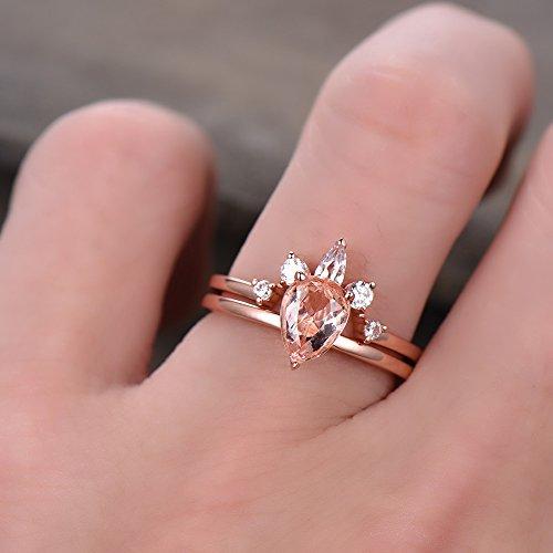 Pear Shape Pink Morganite Wedding Ring Set 925 Sterling Silver Rose Gold CZ Diamond Curved Stacking Ring by Milejewel Morganite Engagement Ring (Image #4)