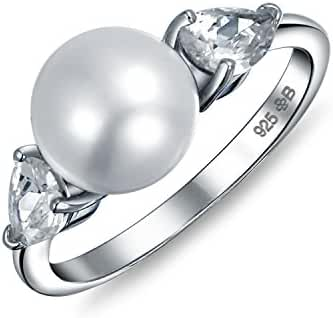 Bling Jewelry 925 Silver Freshwater Cultured Pearl CZ Teardrop Ring