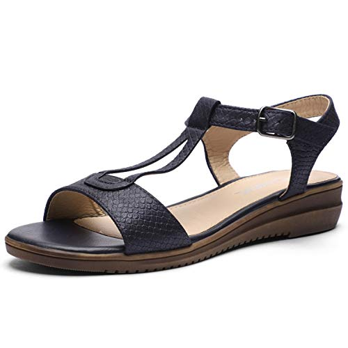 (CINAK Women Comfort Flat Sandals-Cute Open Toe One Band Adjustable Ankle Strap Stylish Summer Shoes Navy Blue)