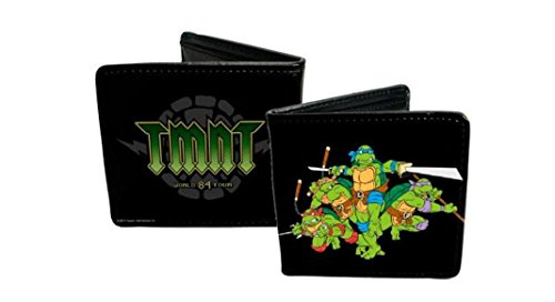 Buckle-Down Men's Wallet Classic Tmnt Group Pose + Tmnt World Tour 84 Black/gr Accessory, -Multi, One - Lego Ninja Keychain Turtle