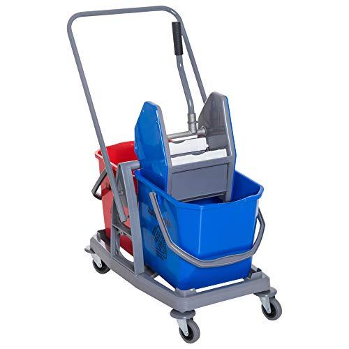 HOMCOM schoonmaakwagen reinigingswagen dweilwagen met 2 emmers systeemwagen met 4 licht lopende wielen metaal + PP blauw…
