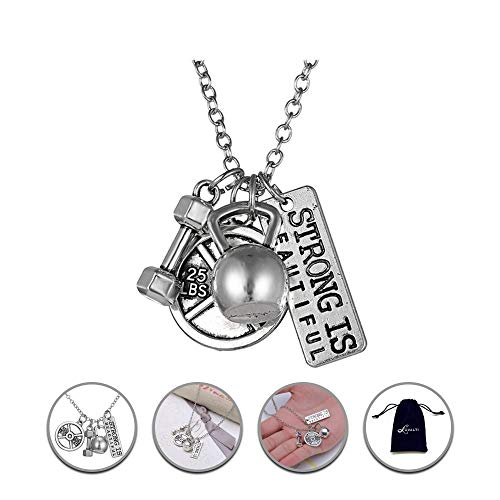 """Luvalti """"Strong is Beautiful"""" Pendant Necklace - Best Motivational Gift - Weight Plate Barbell Dumbbell Pendants"""