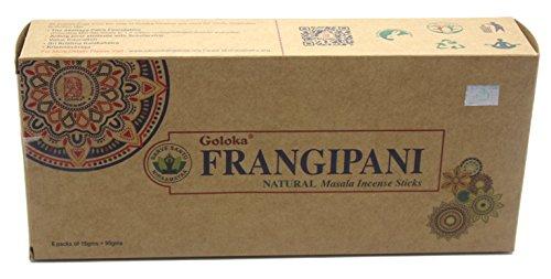 Goloka Organica Series - Frangipani - 6 Boxes of 15 Grams ( 90 Grams Total (Plumeria Incense)