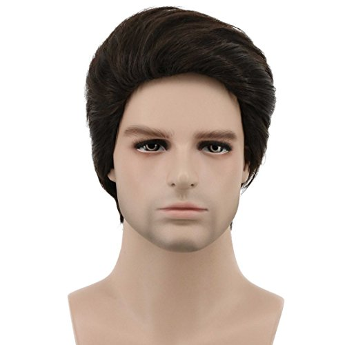 Karlery Mens Short Bob Straight Dark Brown Wig Halloween Costume Wig Anime Cosplay Wig -