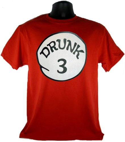 Drunk 3 Three Funny Costume Red Adult T-Shirt Tee
