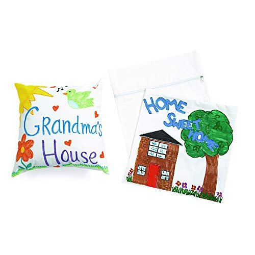 Colorations Canvas Pillow Cases Set of 12 Crafts Project for Kids Arts and Crafts Project