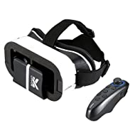 Buykuk 3d VR casque 3d VR Lunettes 3d VR Headset réalité virtuelle objectif réglable et sangle pour iPhone ou Android pour 3d Films et jeux