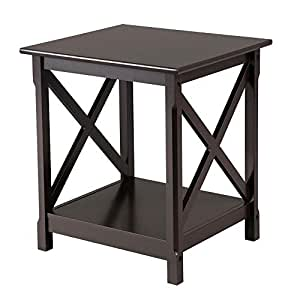 Yaheetech Bedside Table Nightstand End Sofa Table with Shelf - Storage  Cabinet Accent Table for Living Room Black