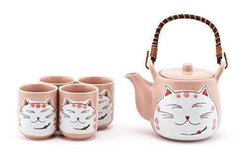 - Hinomaru Collection Japanese Neko Cat Kitten Design Tea Set Ceramic Teapot with Strainer, Rattan Handle and 4 Tea Cups