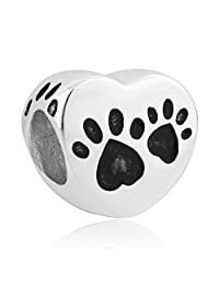 Charmed Craft 925 Sterling Silver Puppy Pet Dog Paw Print Heart Charm Beads Fit Pandora Charm Bracelets