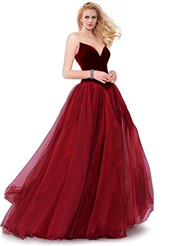 Velvet Tiered Skirt - SUMINTRAS Strapless Lace-Up Back Velvet Top Organza Tiered Skirt Ball Gown for Prom (Burgundy, Custom)