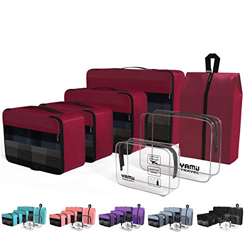 YAMIU Packing Cubes 7-Pcs Travel Organizer Accessories with Shoe Bag & 2 Toiletry Bags(Wine Red) (All Match Clear Travel Bag)