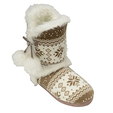 Perfect Me Ladies Slippers Womens Dunlop Boots Ankle Fairisle ...