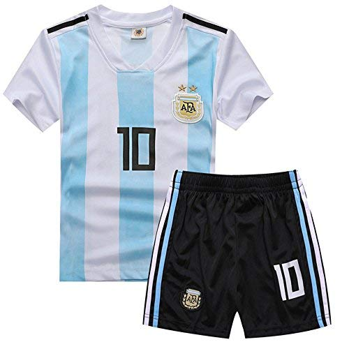 28a780aed yuqier Argentina National Soccer Team 2018 World Cup Football Soccer Club  Short Sleeve Jersey Kids Boy Youth 3-12 Years Team Suit Kit Shirt & Shorts  Color ...