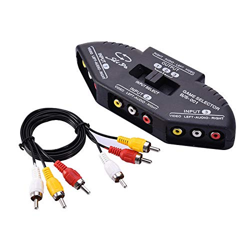 yan New 3 Port AV Composite RCA Selector Box Switch Splitter w/Cable Cord Plug US