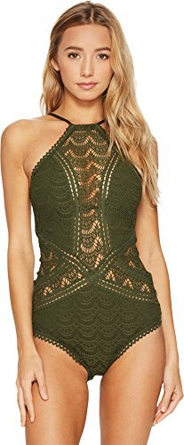 Becca by Rebecca Virtue Women's One Piece High Neck Swimsuit Bay Leaf M by Becca by Rebecca Virtue