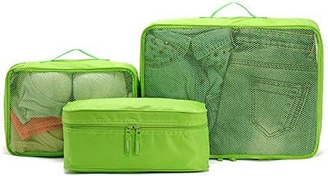 トラベルポーチ 3ピースパッキングキューブセット - 小、中、大、緑