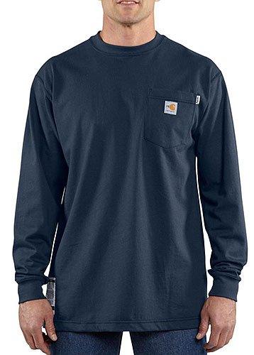 Carhartt Flame Resistant L/S T-Shirt, Dark Navy, X-Large Tall