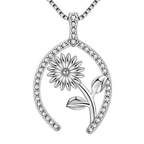 Aurora Tears Wishbone Necklace Women Rose Flower Pendant 925 Sterling Silver Lucky Wish Jewelry Girls Dating Gift Bone Amulet Present ()