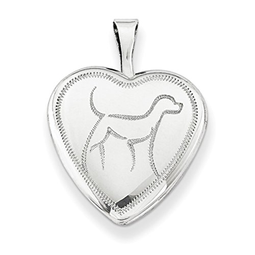 Sterling Silver Diamond-Cut Dog Locket Pendant Necklace, 18'' by The Men's Jewelry Store (for HER)