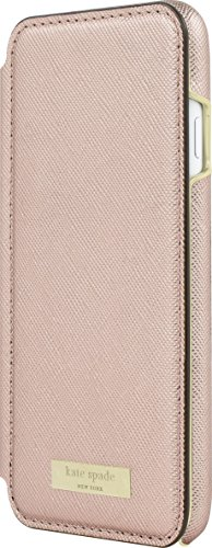 Kate Spade New York Phone Case | For Apple iPhone 8 and iPhone 7 | Protective Phone Cases with Folio Design and Drop Protection - Saffiano Rose Gold/Gold Logo Plate