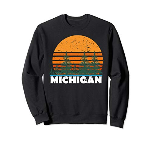 Michigan Sweatshirt | Vintage Retro Sunset MI State Gift