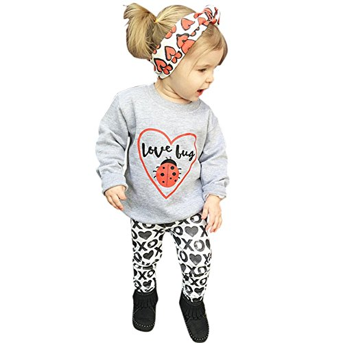 MiyaSudy Baby Girls Love Bug T-Shirt Tops and Printed Pant with Headband Kids Clothes Outfits Autumn by MiyaSudy (Image #7)